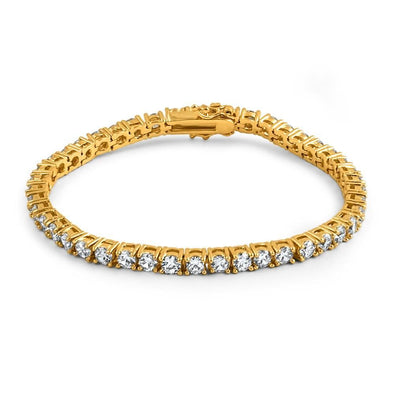 .925 Silver 4MM CZ 1 Row Bling Tennis Bracelet Gold