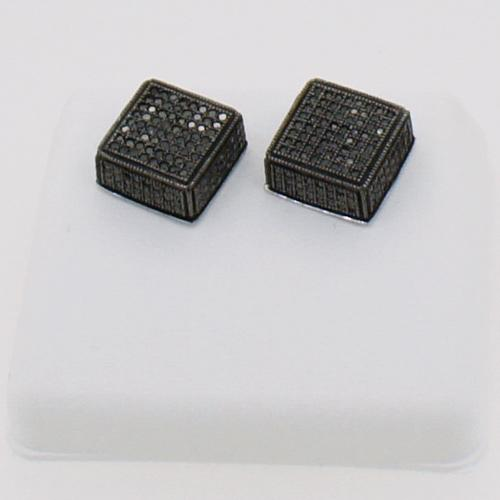 Jumbo Real Black Diamond Cube Hip Hop Earrings .81cttw