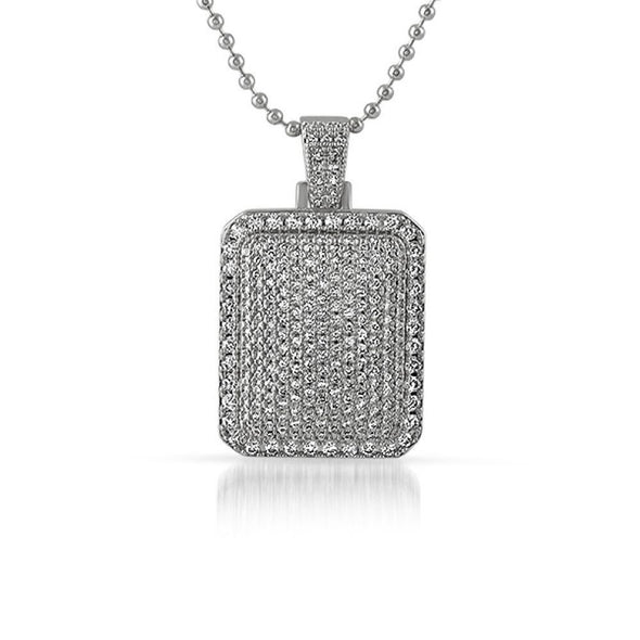 Bling Bling CZ Rhodium Mini Dog Tag Pendant