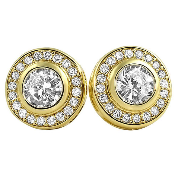 CZ Solitaire Circle Bling Earrings
