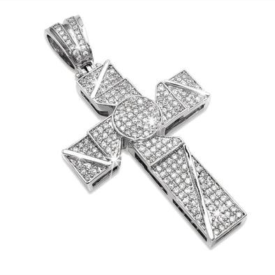 Blade Iced Out Cross CZ Micro Pave Pendant