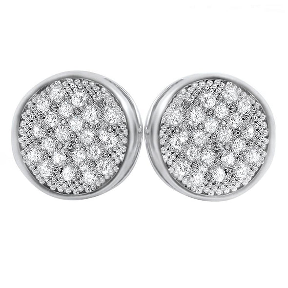 Circle M CZ Micro Pave Earrings Rhodium