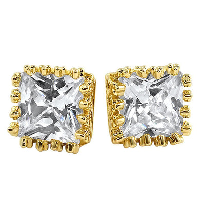 Gold Crown Princess Cut CZ Earrings