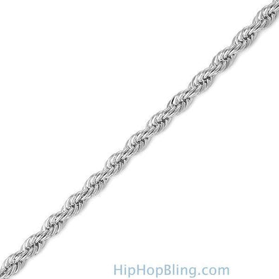 French Rope 4MM Silver Plated Bracelet
