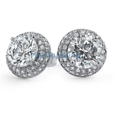 Solitaire Center Micro Pave Border CZ Earrings