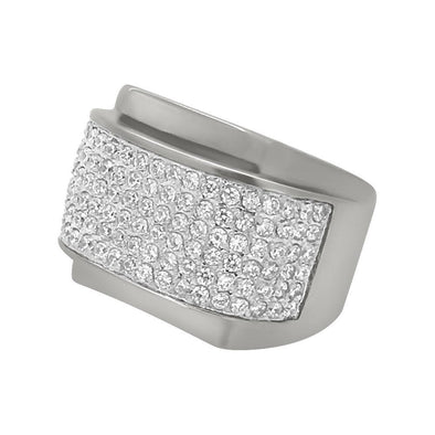 CZ Bling Bling Rounded Stainless Steel Ring