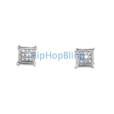 .05 Carat Diamond Kite Micro Pave Earrings .925 Silver