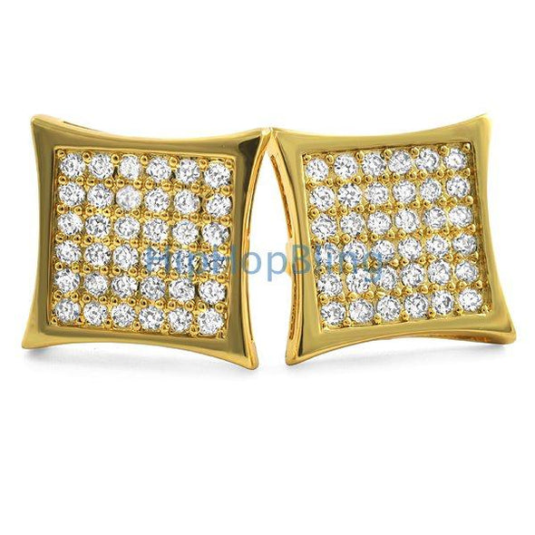 Kite 72 Stones CZ Gold Bling Bling Earrings