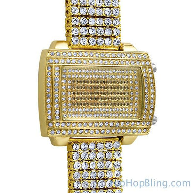 Gold LED Digital Block Custom Bling Bling Watch