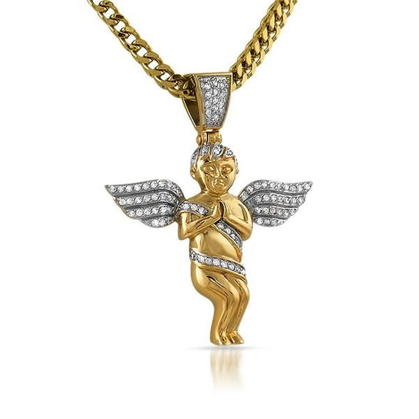 Gold Cherub Angel Mini Micro Pave CZ Iced Out Pendant