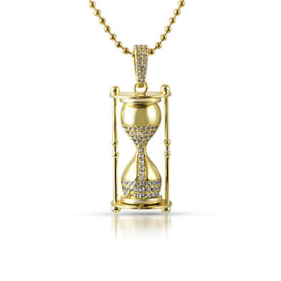 Hour Glass CZ Gold Hip Hop Pendant (Free 36 Inch Bead Chain)