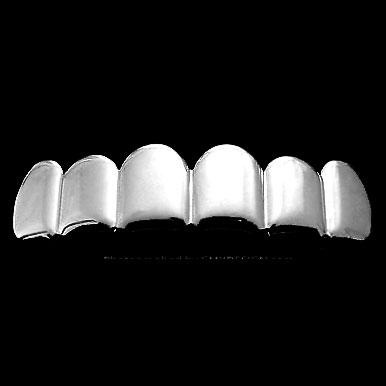 TOP All Shiny No Ice Silver Tone Grill Teeth Hip Hop Grillz