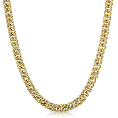 .925 Silver 8MM CZ Bling Bling Gold Cuban Links Chain