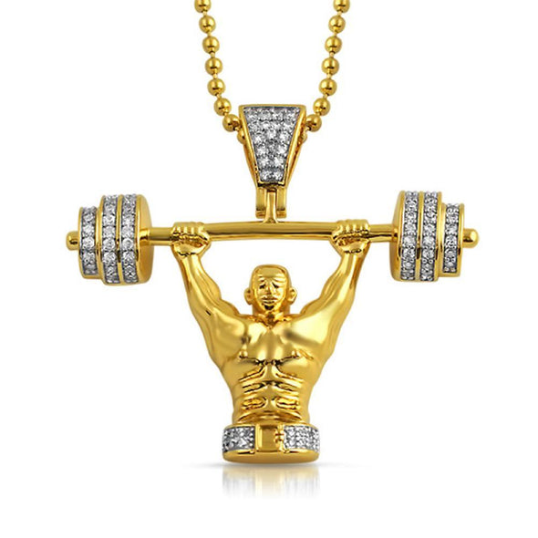 Champion Weightlifter 3D Gold CZ Bling Bling Pendant