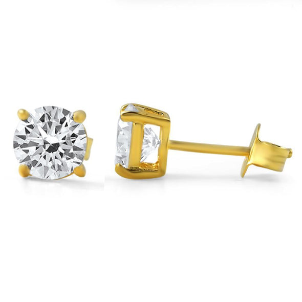 H&A Round Cut CZ Stud Earrings Gold .925 Silver