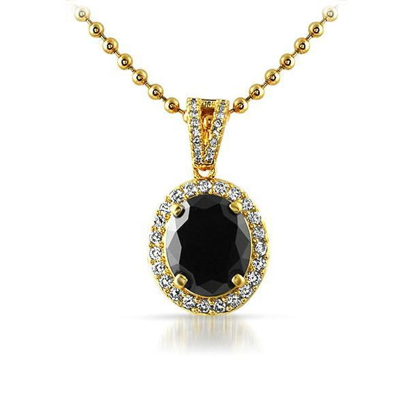 .925 Sterling Silver Gold Black Oval Gem Pendant
