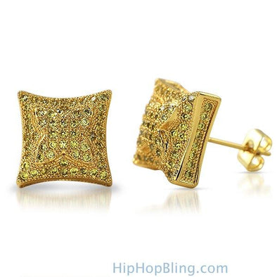 3D X Kite Lemonade CZ Micro Pave Hip Hop Earrings