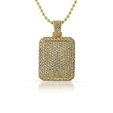 Bling Bling Mini Gold Dog Tag CZ Pendant