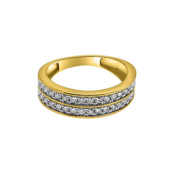 1.00cttw Diamond 2 Row Bling Bling 10K Gold Ring