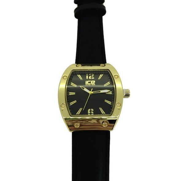 Gold Designer Fashion Watch with Black Strap