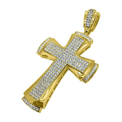 CZ Designer Bling Bling Gold Cross Pendant