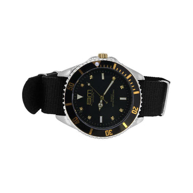 Divers Sport Watch Gold with Black Nylon Strap