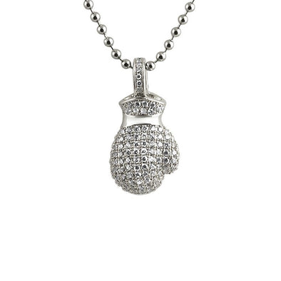 3D Mini Boxing Glove CZ Pendant Rhodium