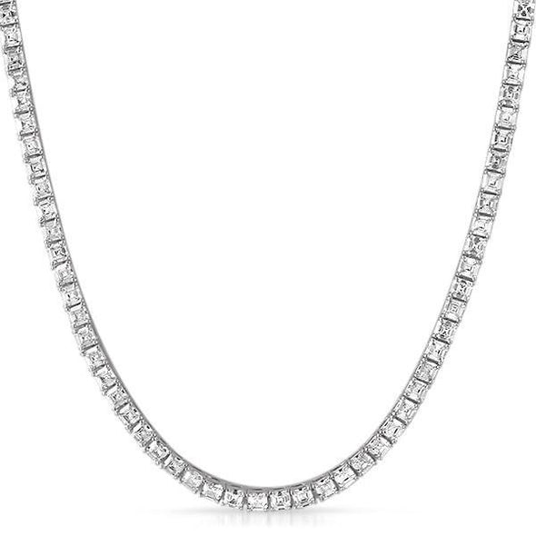 Asscher Cut 4MM 1 Row CZ Rhodium Tennis Chain (16 in)