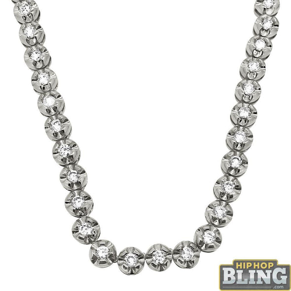 Diamond Cut Bezel CZ 1 Row Bling Bling Chain