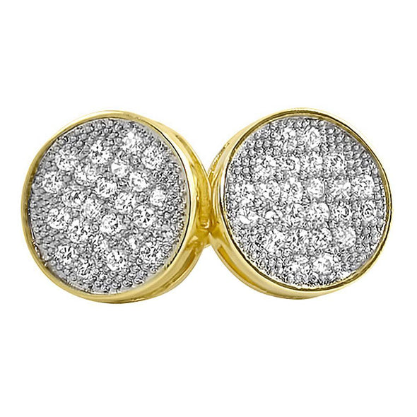 Gold Circle CZ Micro Pave Iced Out Earrings