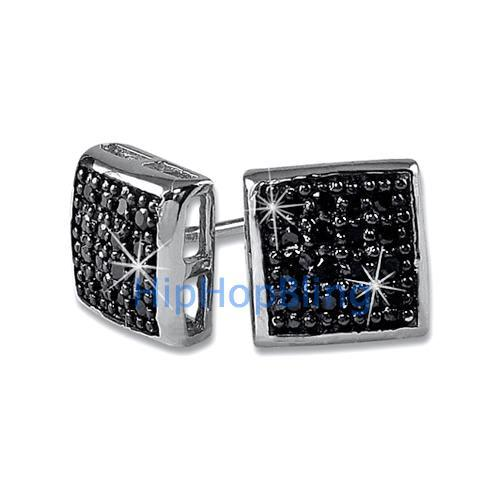 Deep Box Black CZ 32 Stones Bling Micro Pave Earrings .925 Silver