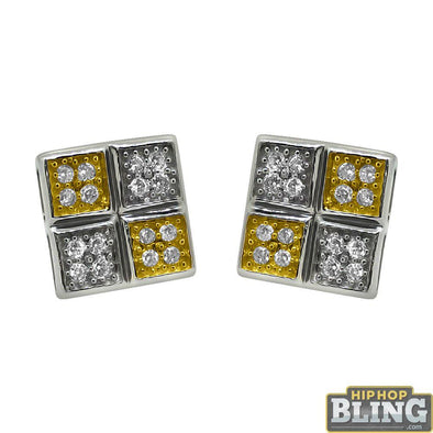 .925 Sterling Silver 2 Tone Quad Box CZ Earrings