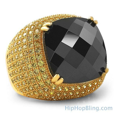 Black Rose Cut CZ Lemonade Micro Pave Ring