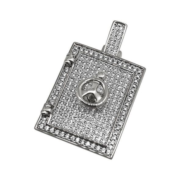 3D Safe Bank Vault Rhodium CZ Bling Bling Pendant (Free 36 Inch Bead Chain)