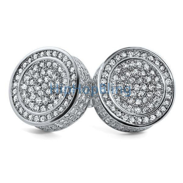 Custom XL 3D Circle CZ Bling Bling Earrings
