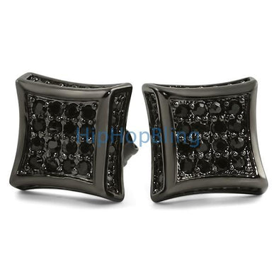 3D Kite Black CZ Micro Pave Bling Earrings