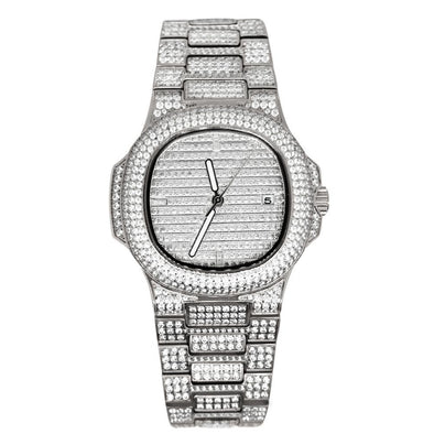 Modern CZ Stainless Steel Watch in White Gold