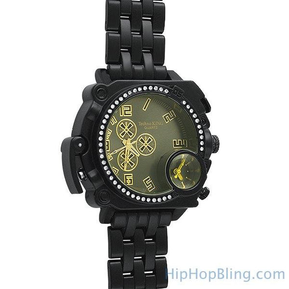 Divers Thick Black Iced Out Watch