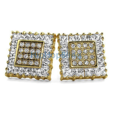 Gold Baguette & Princess CZ Bling Bling Earrings