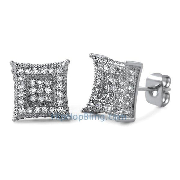 3D Box Kite L CZ Micro Pave Earrings