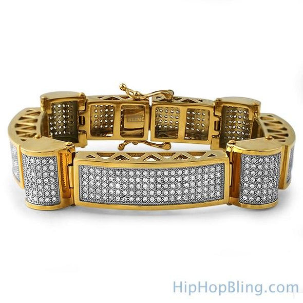 Gold Ice Cylinders Micro Pave CZ Steel Bracelet