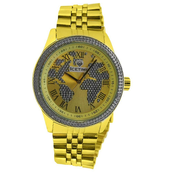 Gold IceTime Continential .10ct Diamond HipHop Watch