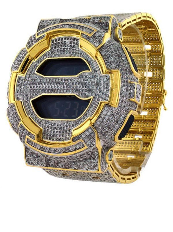 Gold Mega Iced Out Bling Custom Made GA100 G Shock Watch
