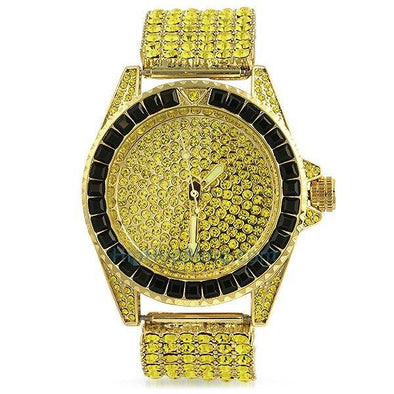 Princess Cut Lemonade 6 Row Bling Bling Watch