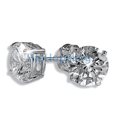 8mm Round Signity CZ Diamond Solitaire Earrings