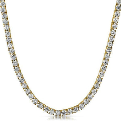 Prong Set 4MM CZ Gold 1 Row Bling Bling Tennis Chain