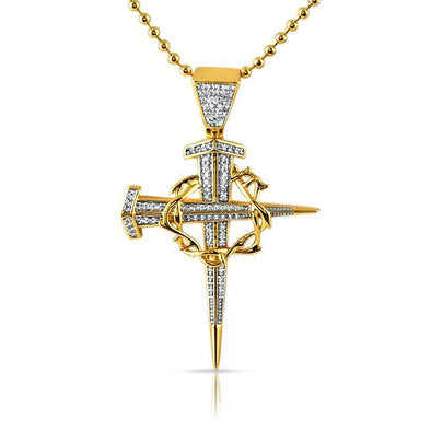 Gold Thorny Stake Cross Bling Bling Detailed Pendant