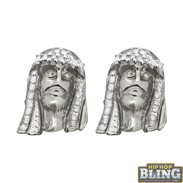 Diamond Jesus Piece Earrings .925 Sterling Silver