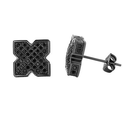 3D Pointed X Black CZ Bling Bling Earrings