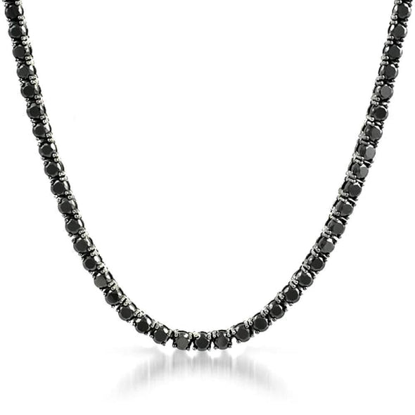 Black 4MM CZ Stainless Steel Tennis Chain